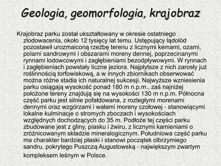 Geologia, geomorfologia, krajobraz