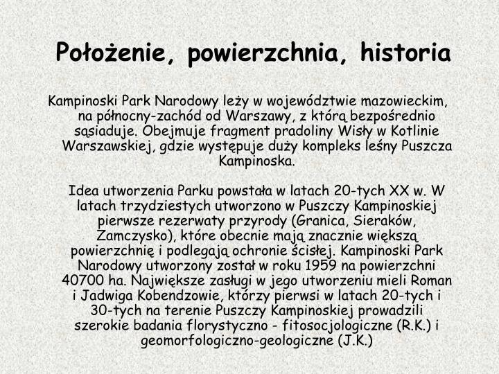 Pooenie, powierzchnia, historia