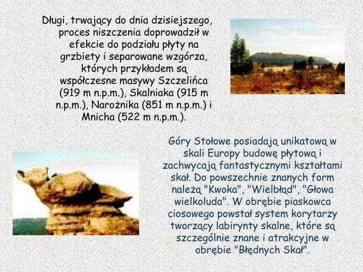 Długi, trwający do dnia dzisiejszego, proces niszczenia doprowadził w efekcie do podziału płyty na grzbiety i separowane wzgórza, których przykładem są współczesne masywy Szczelińca (919 m n.p.m.), Skalniaka (915 m n.p.m.), Narożnika (851 m n.p.m.) i Mnicha (522 m n.p.m.).