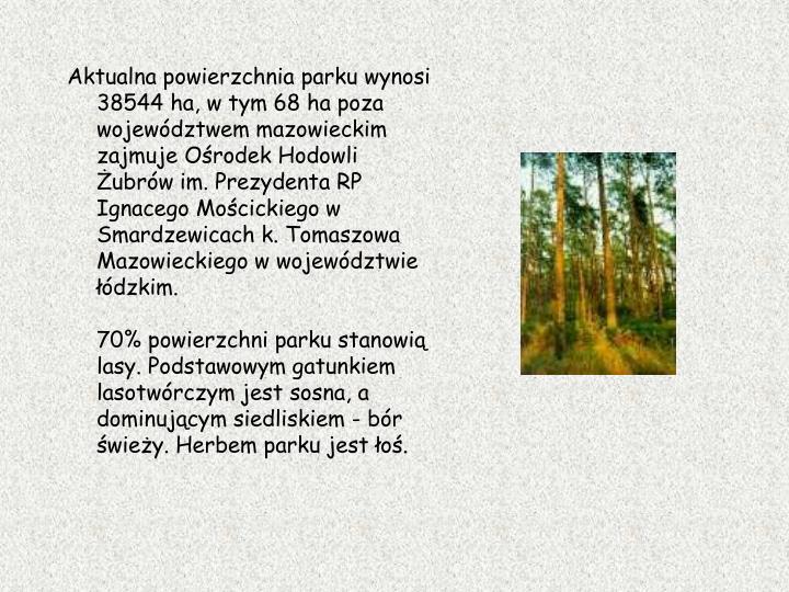 Aktualna powierzchnia parku wynosi 38544 ha, w tym 68 ha poza województwem mazowieckim zajmuje Ośrodek Hodowli Żubrów im. Prezydenta RP Ignacego Mościckiego w Smardzewicach k. Tomaszowa Mazowieckiego w województwie łódzkim.