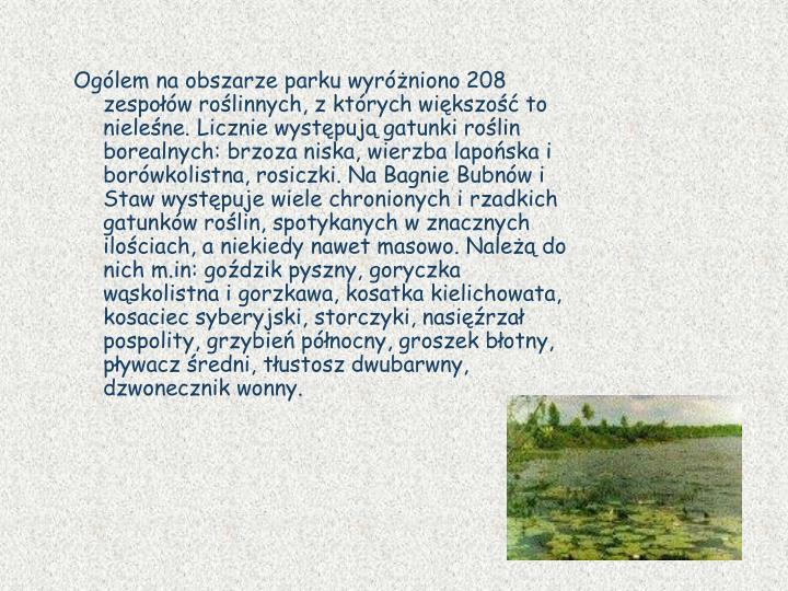 Ogólem na obszarze parku wyróżniono 208 zespołów roślinnych, z których większość to nieleśne. Licznie występują gatunki roślin borealnych: brzoza niska, wierzba lapońska i borówkolistna, rosiczki. Na Bagnie Bubnów i Staw występuje wiele chronionych i rzadkich gatunków roślin, spotykanych w znacznych ilościach, a niekiedy nawet masowo. Należą do nich m.in: goździk pyszny, goryczka wąskolistna i gorzkawa, kosatka kielichowata, kosaciec syberyjski, storczyki, nasięźrzał pospolity, grzybień północny, groszek błotny, pływacz średni, tłustosz dwubarwny, dzwonecznik wonny.