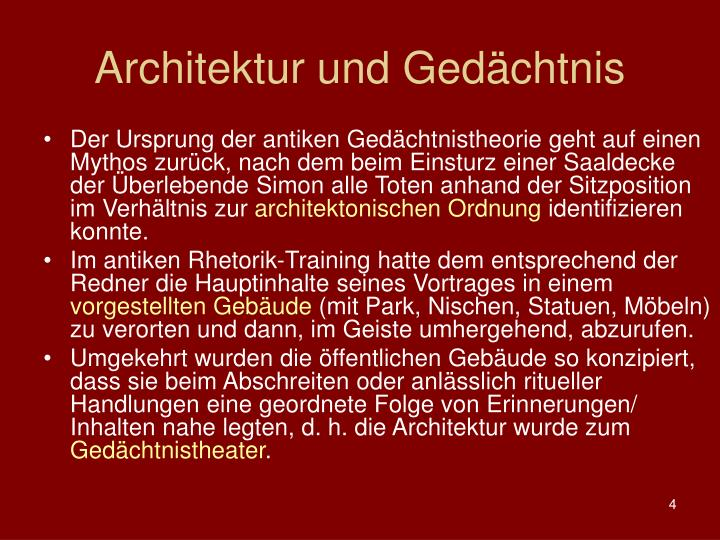 Architektur und Gedchtnis