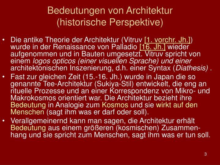 Bedeutungen von Architektur