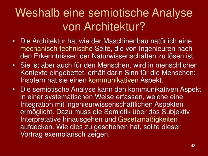 Weshalb eine semiotische Analyse von Architektur?