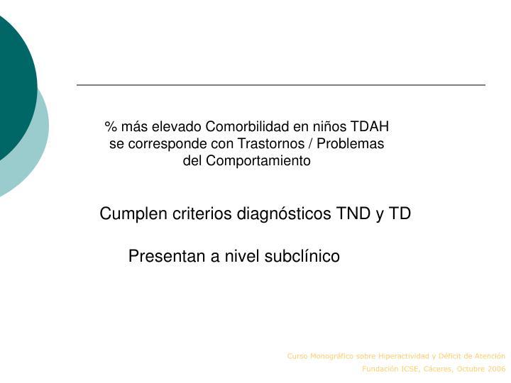 % más elevado Comorbilidad en niños TDAH se corresponde con Trastornos / Problemas del Comportamiento