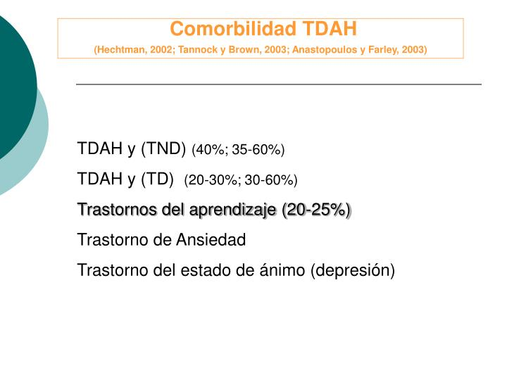 Comorbilidad TDAH