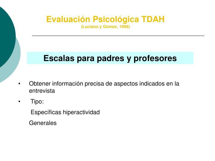 Evaluación Psicológica TDAH