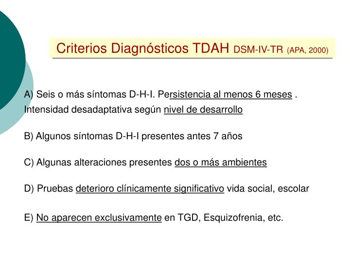 Criterios Diagnósticos TDAH