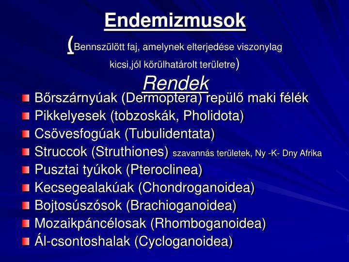 Endemizmusok
