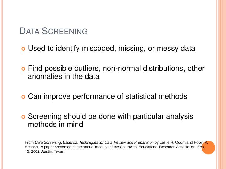 Data Screening