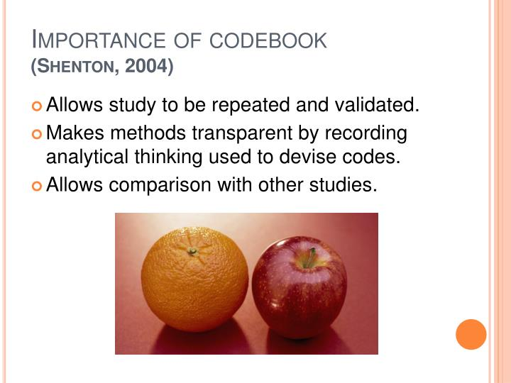 Importance of codebook