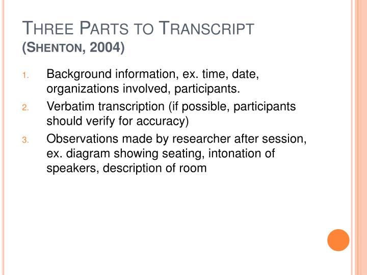 Three Parts to Transcript