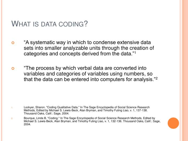 What is data coding