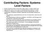 contributing factors systems level factors