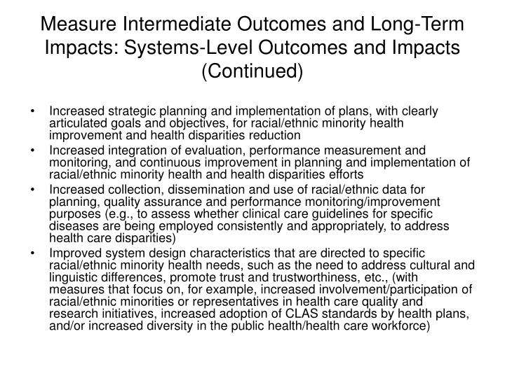 Measure Intermediate Outcomes and Long-Term Impacts: Systems-Level Outcomes and Impacts (Continued)
