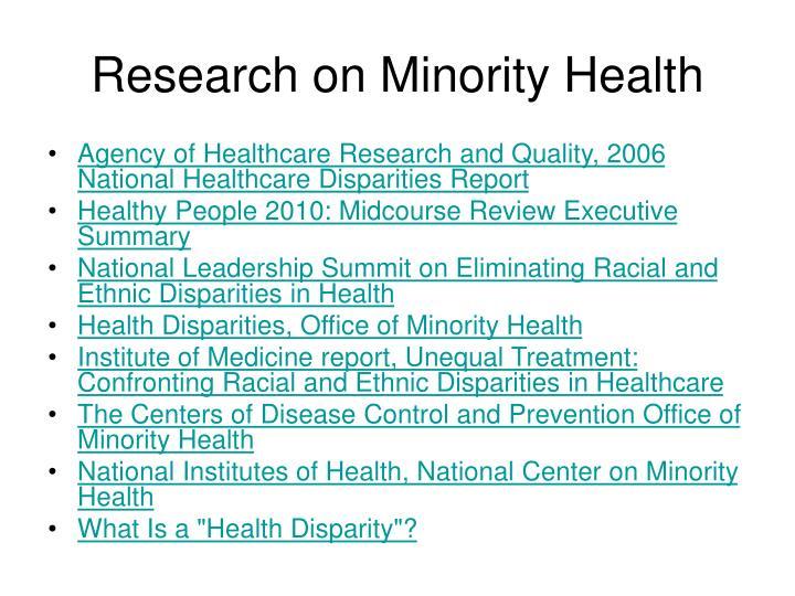 Research on Minority Health
