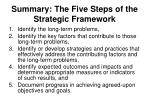 summary the five steps of the strategic framework