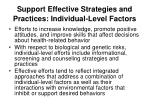 support effective strategies and practices individual level factors