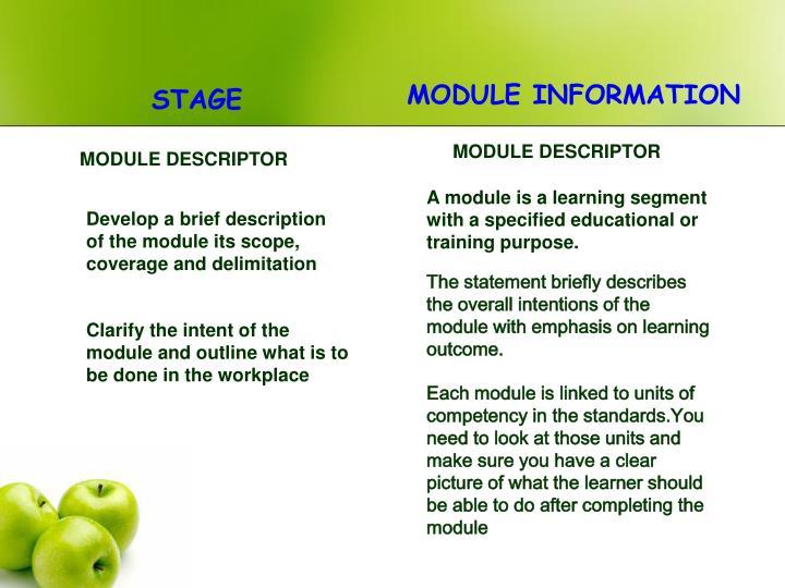 MODULE INFORMATION