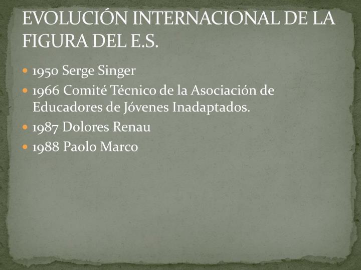 EVOLUCIÓN INTERNACIONAL DE LA FIGURA DEL E.S.