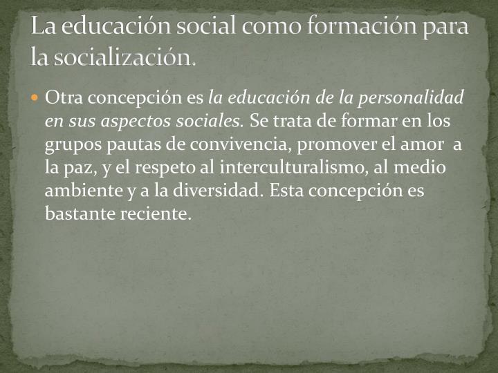 La educacin social como formacin para la socializacin.