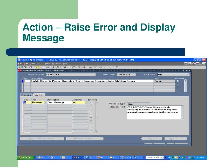 Action – Raise Error and Display Message