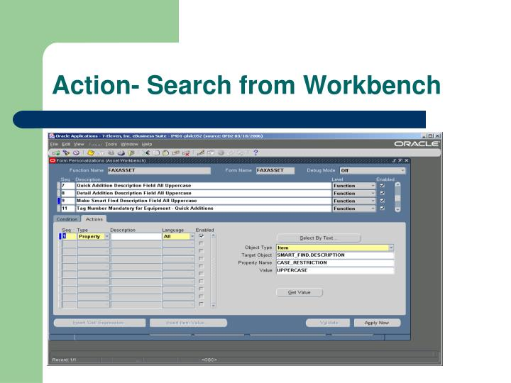Action- Search from Workbench