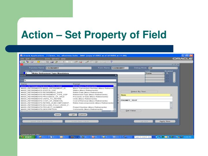 Action – Set Property of Field