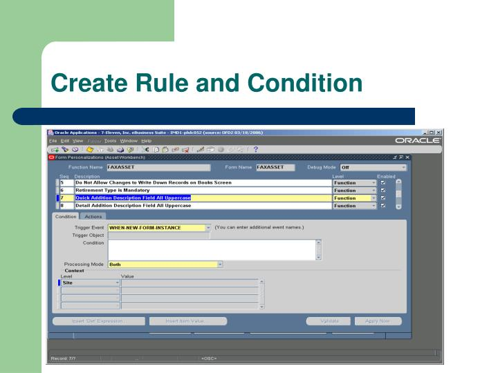 Create Rule and Condition