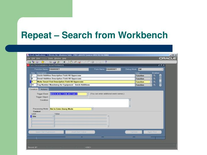 Repeat – Search from Workbench