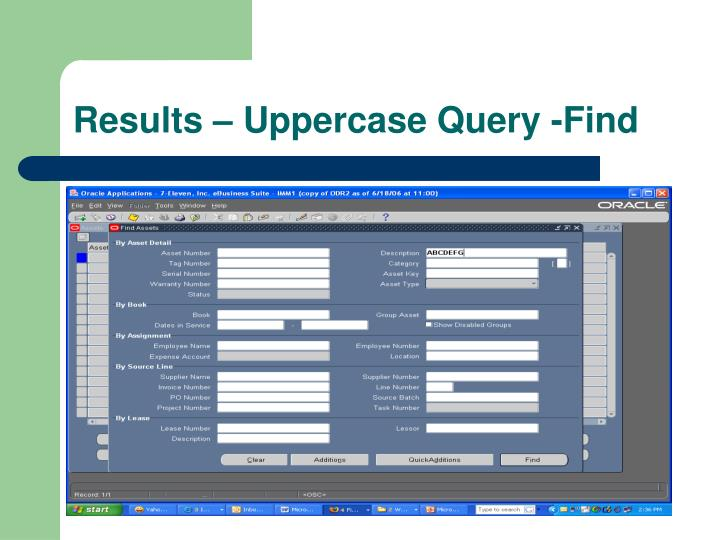 Results – Uppercase Query -Find