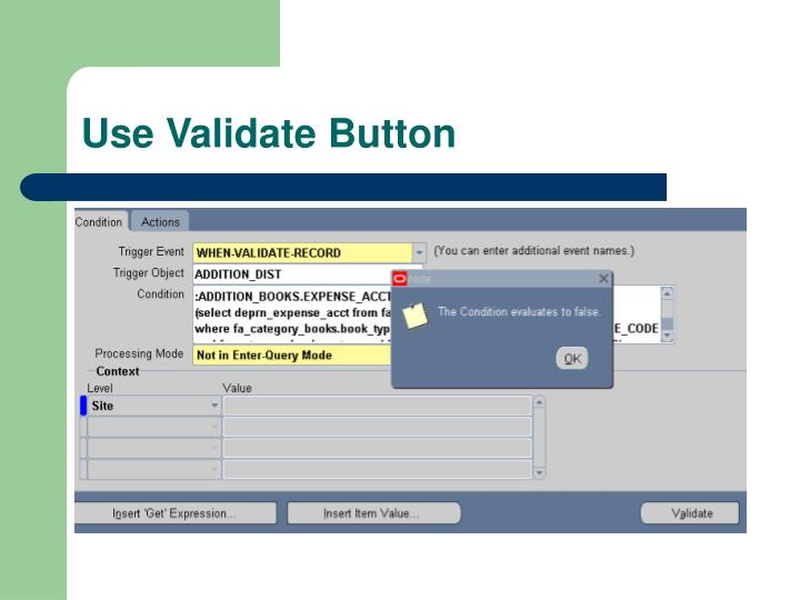Use Validate Button