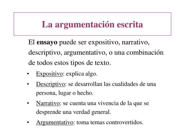 La argumentación escrita