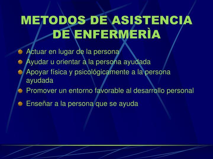 METODOS DE ASISTENCIA DE ENFERMERÌA