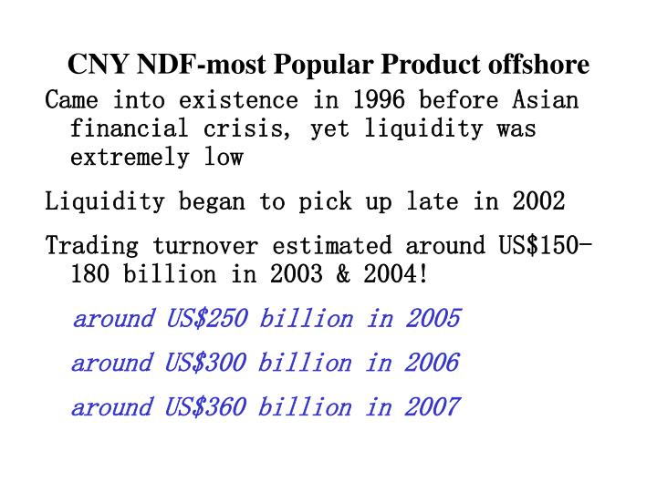 CNY NDF-most Popular Product offshore