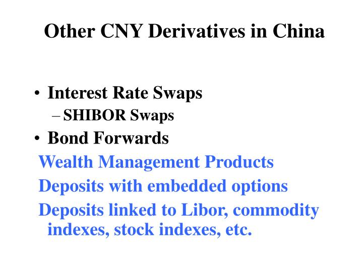 Other CNY Derivatives in China