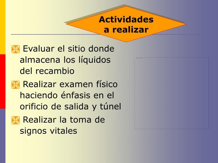 Evaluar el sitio donde almacena los líquidos del recambio