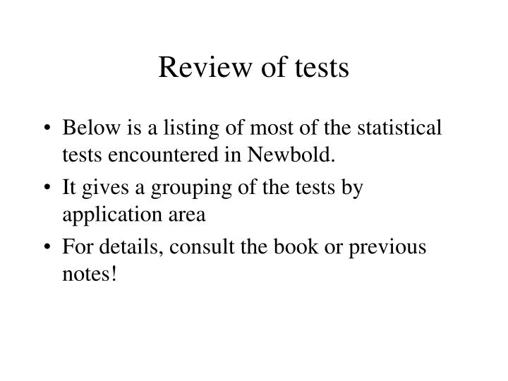 Review of tests