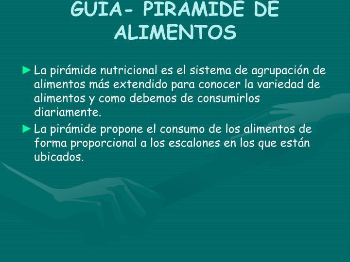 GUÍA- PIRÁMIDE DE ALIMENTOS