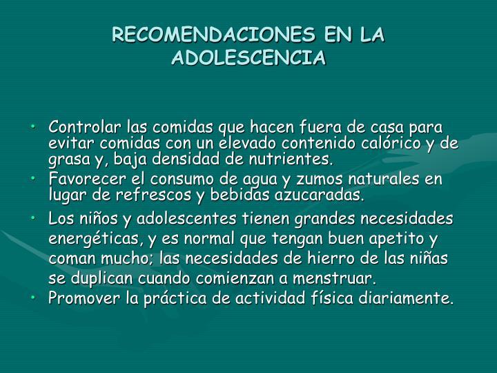 RECOMENDACIONES EN LA ADOLESCENCIA