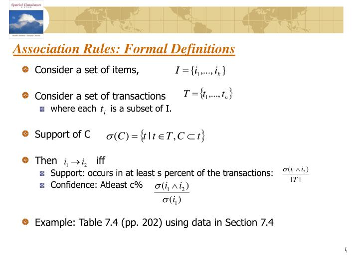 Association Rules: Formal Definitions