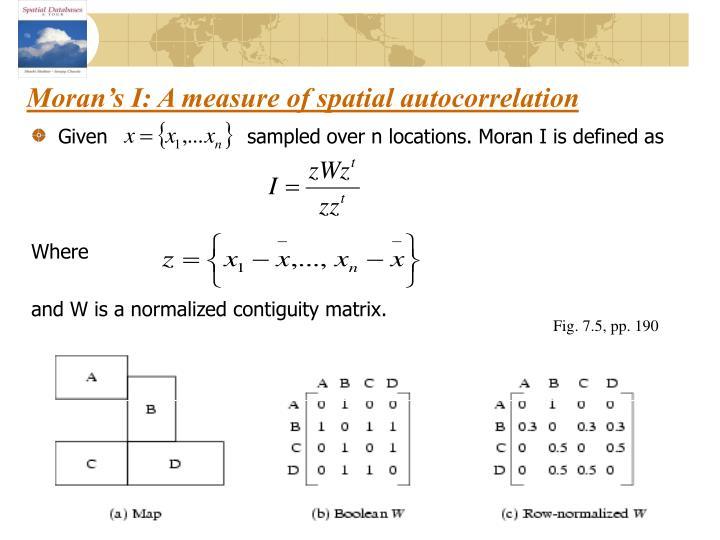 Moran's I: A measure of spatial autocorrelation