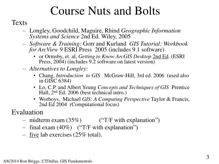 Course Nuts and Bolts
