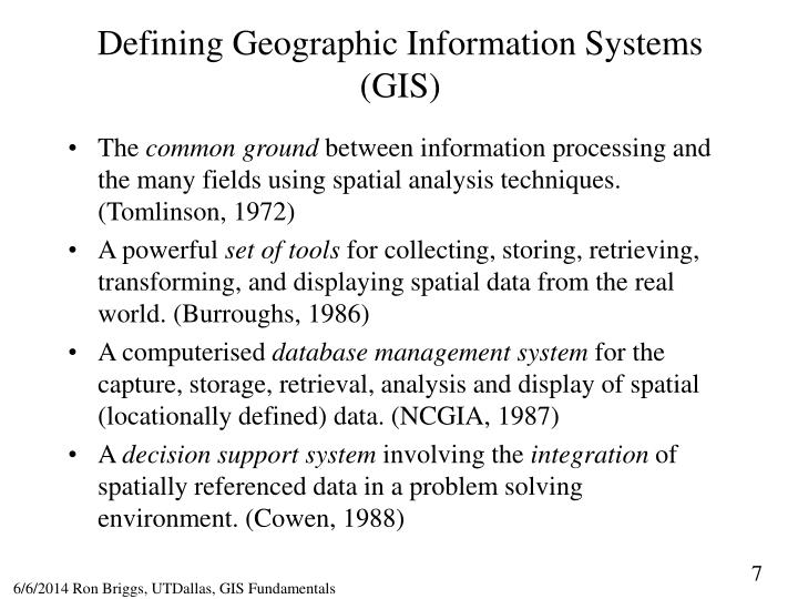 Defining Geographic Information Systems (GIS)
