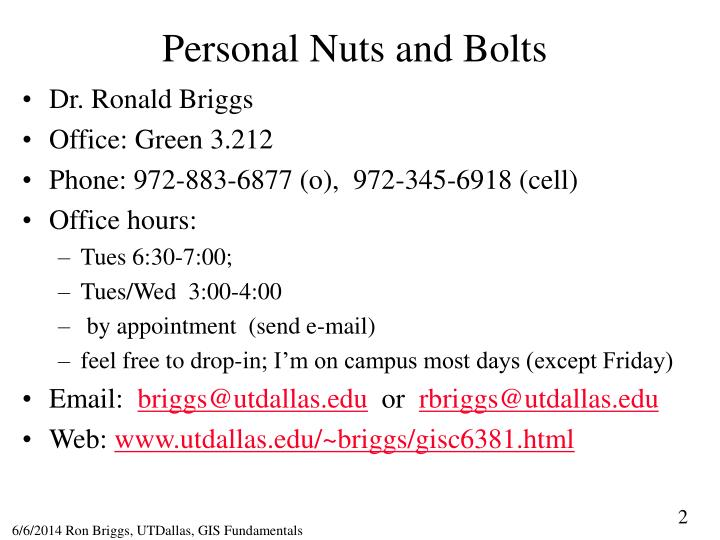 Personal Nuts and Bolts