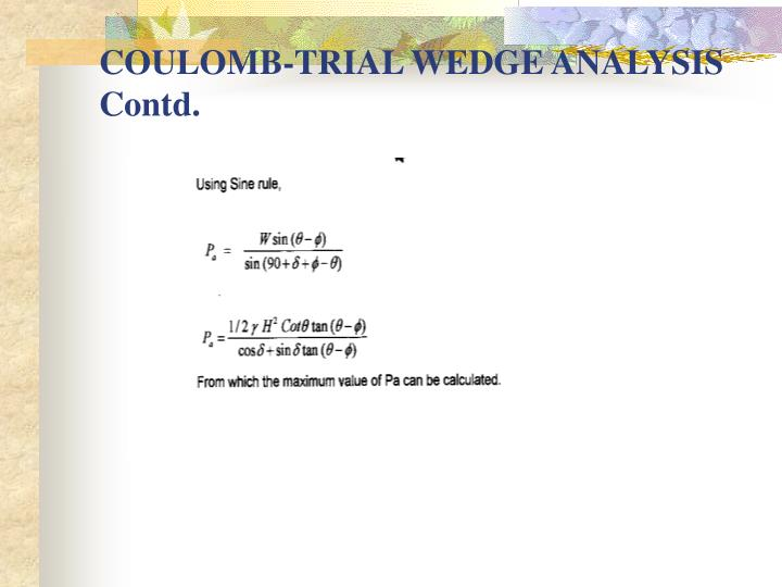 COULOMB-TRIAL WEDGE ANALYSIS Contd.