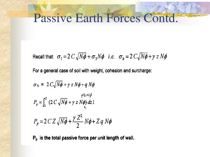 Passive Earth Forces Contd.