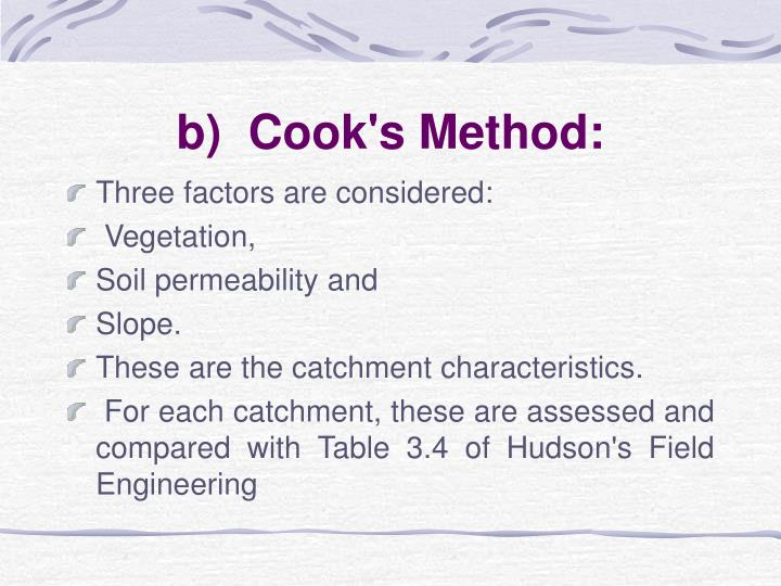 b)  Cook's Method: