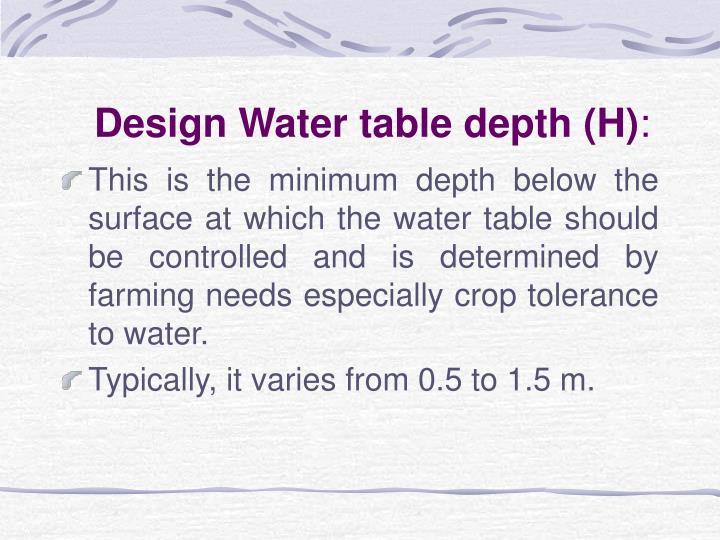 Design Water table depth (H)