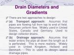 drain diameters and gradients